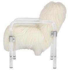 Jeff Messerschmidt Lucite, Arctic Sheepskin Armchair