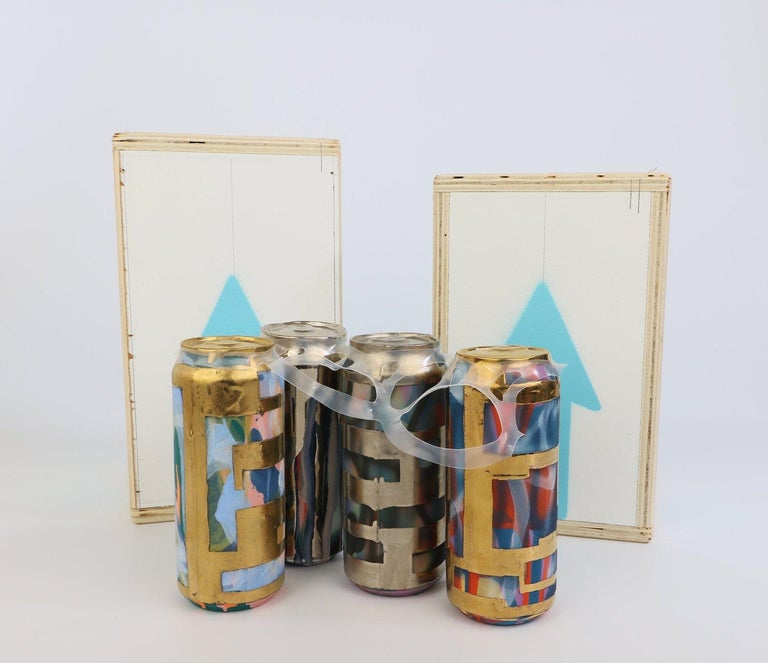 Beer Can 12 (ceramic and gold sculpture) - Contemporary Sculpture by Jeff Schwarz