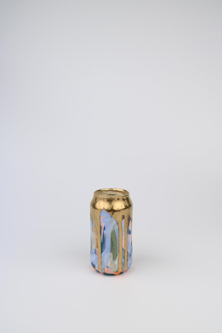 Beer Can 12 (ceramic and gold sculpture) - Sculpture by Jeff Schwarz