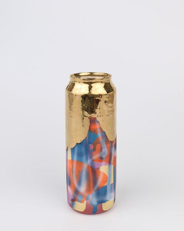 Beer Can 13 (ceramic and gold sculpture) - Sculpture by Jeff Schwarz