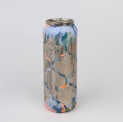 Beer Can 15 (ceramic and silver sculpture)