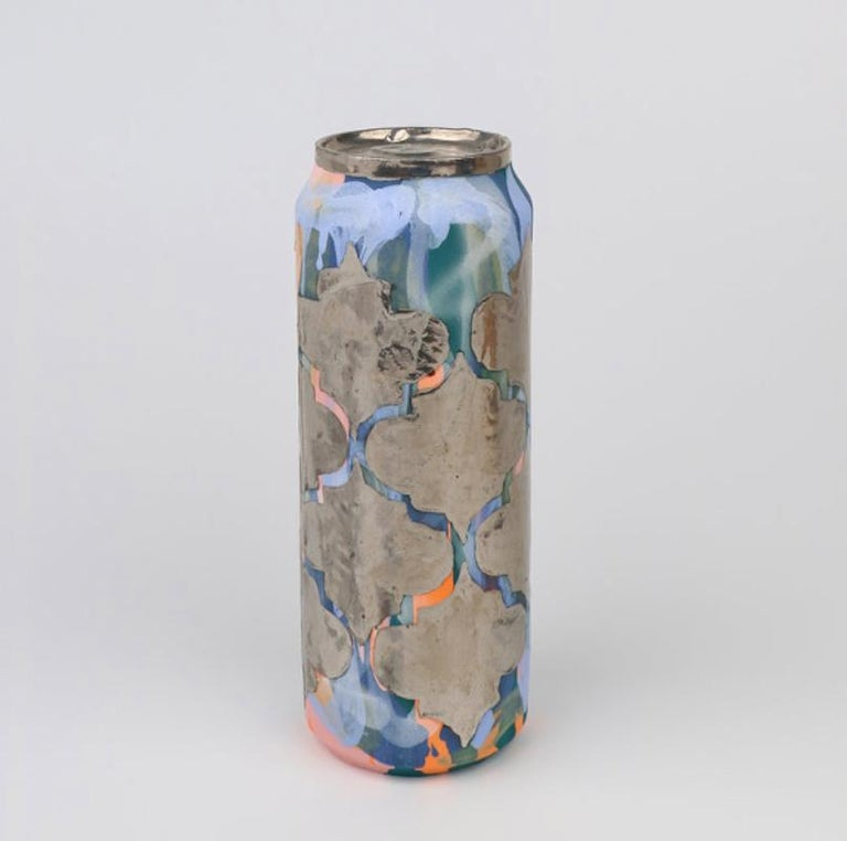 Beer Can 15 (ceramic and silver sculpture) - Sculpture by Jeff Schwarz