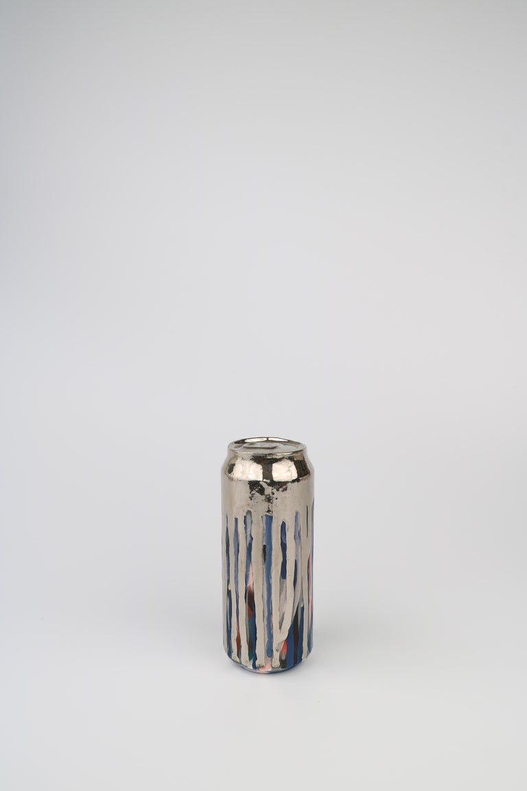 Beer Can 18 (ceramic and silver sculpture) - Contemporary Sculpture by Jeff Schwarz
