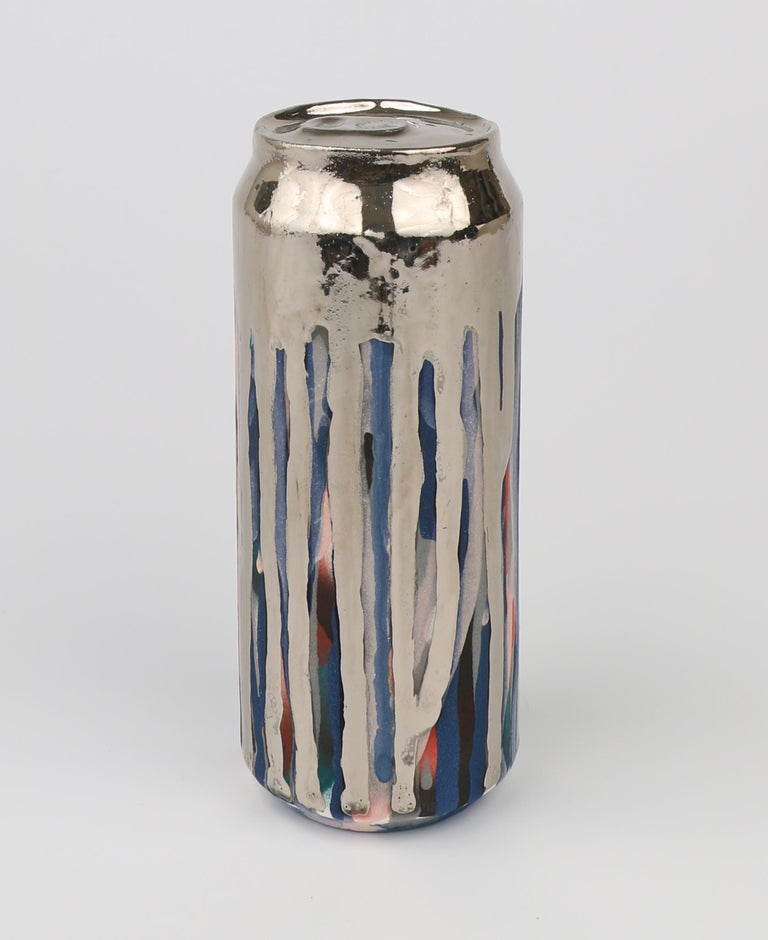 Beer Can 18 (ceramic and silver sculpture) - Sculpture by Jeff Schwarz