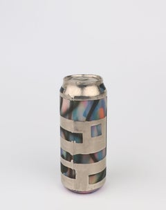 Beer Can 20 (ceramic and silver sculpture)