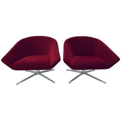 "Jeffrey Bernett ""Remy"" Red Swivel Arm Lounge Chairs for Bernhardt, a Pair"