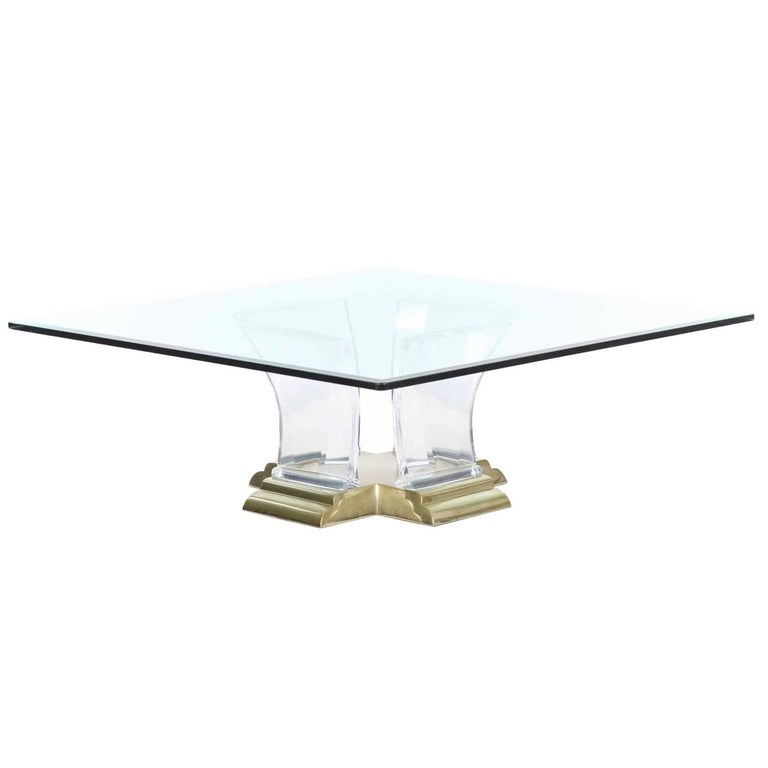 Jeffrey Bigelow Cast Lucite and Brass Coffee Table, circa 1988