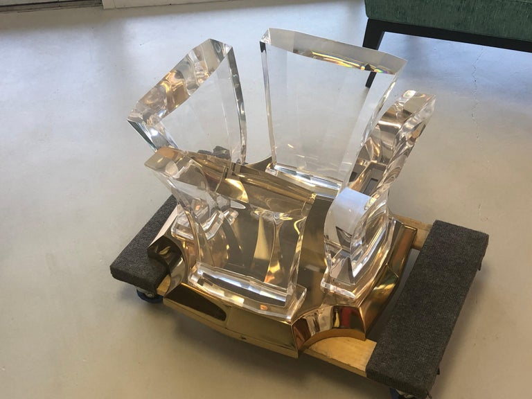 Jeffrey Bigelow Lucite and Brass Coffee Table For Sale 1