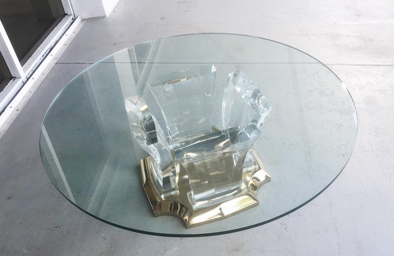 Jeffrey Bigelow Lucite and Brass Coffee Table For Sale 2