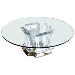 Jeffrey Bigelow Lucite and Brass Coffee Table