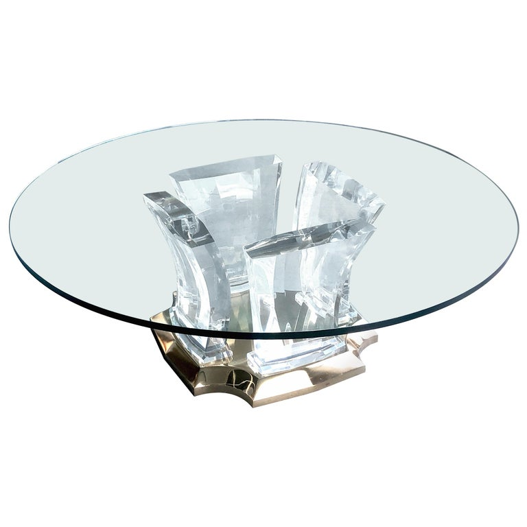 Jeffrey Bigelow Lucite and Brass Coffee Table For Sale