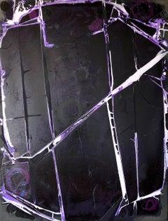 """BLACK MIRROR"", Abstract Painting, Crystalline Purple, Black, Violet, Shards"