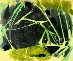 """BONGWATER"", Abstract Painting, Yellow, Green, Black, Hazy, Cavern, Crystalline"