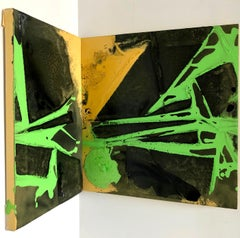 """CORNER POCKET"", Abstract Painting, Naples Yellow, Green, Black, Dynamic Angle"