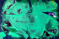 """""""FLASH FLOODS"""", Abstract Painting, Diptych, Indigo, Violet, Green, Acrylic"""