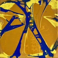 """""""MANHATTAN BRIDGE"""", Abstract Painting, Yellow, Ultramarine, Structure, New York"""