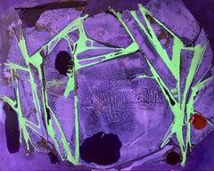 """NO RAIN"", Abstract Painting, Crystalline, Lightning, Purple, Green, Flash, Heat"