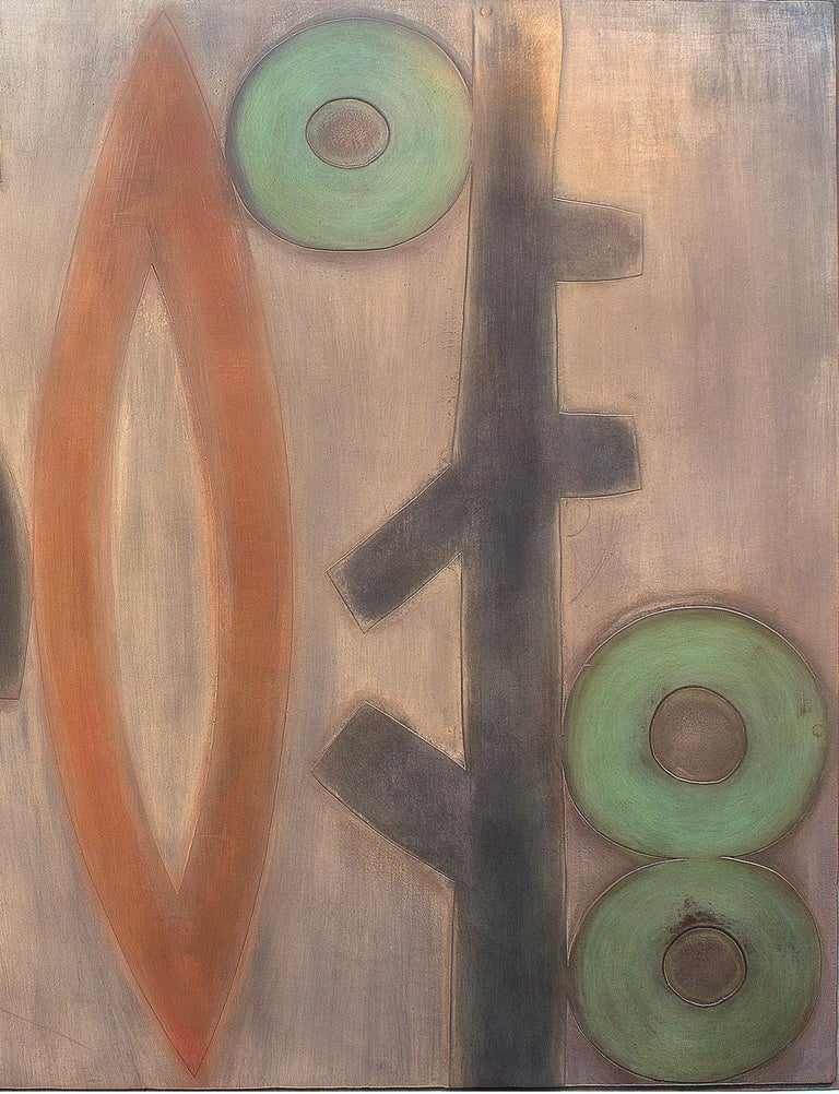 Harvest, abstract metal painting, wall hanging, umber, red green, brown, copper  PUBLIC COLLECTIONS  U.S. Embassy, Tokyo,Japan  Mountain Bell Corporate Offices, Denver Colorado  Smithsonian Institution  Philadelphia Health Care Plan, Philadelphia,