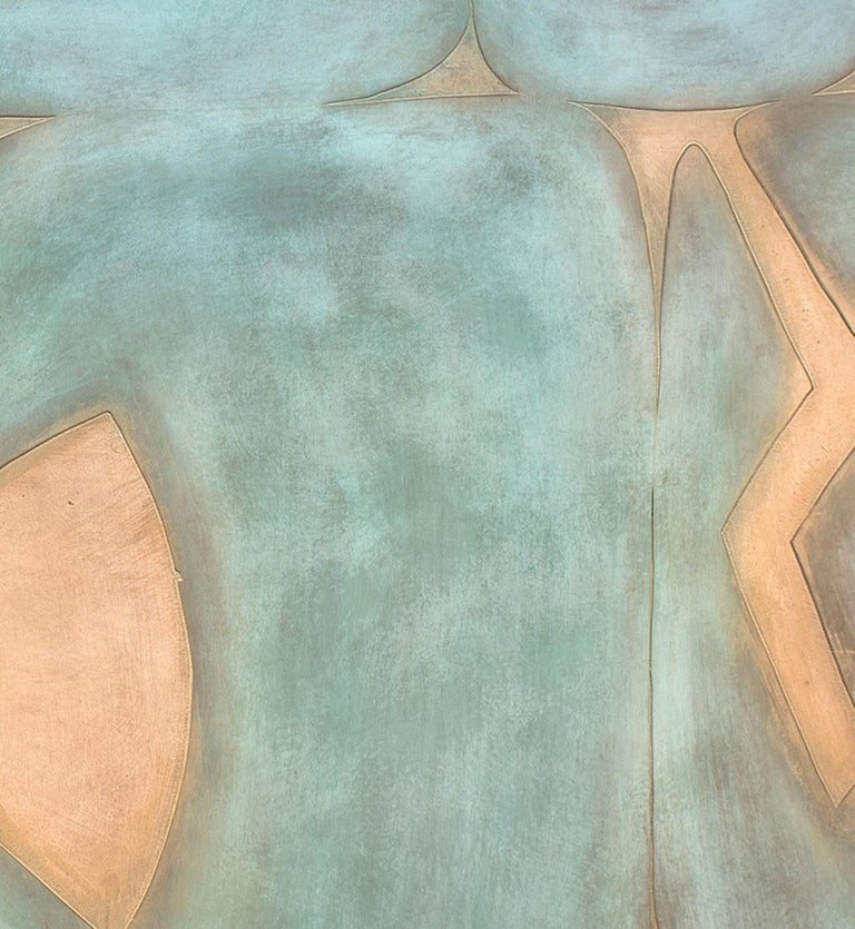 Suachsawamaiman Dreaming, abstract metal painting, wall hanging, copper, blue - Contemporary Sculpture by Jeffrey Maron