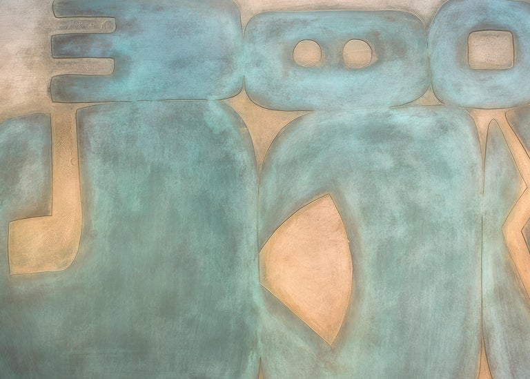 Suachsawamaiman Dreaming, abstract metal painting, wall hanging, copper, blue - Gray Abstract Sculpture by Jeffrey Maron