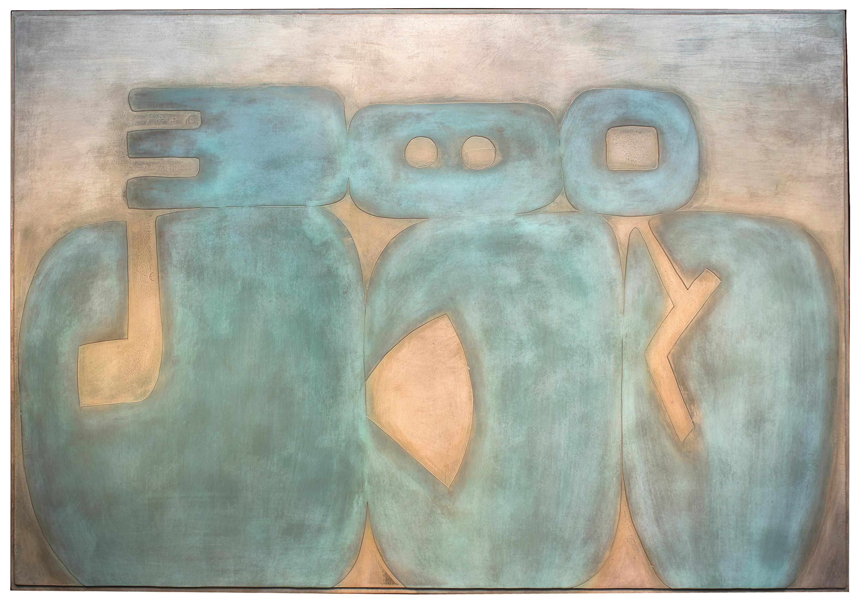Suachsawamaiman Dreaming, abstract metal painting, wall hanging, copper, blue