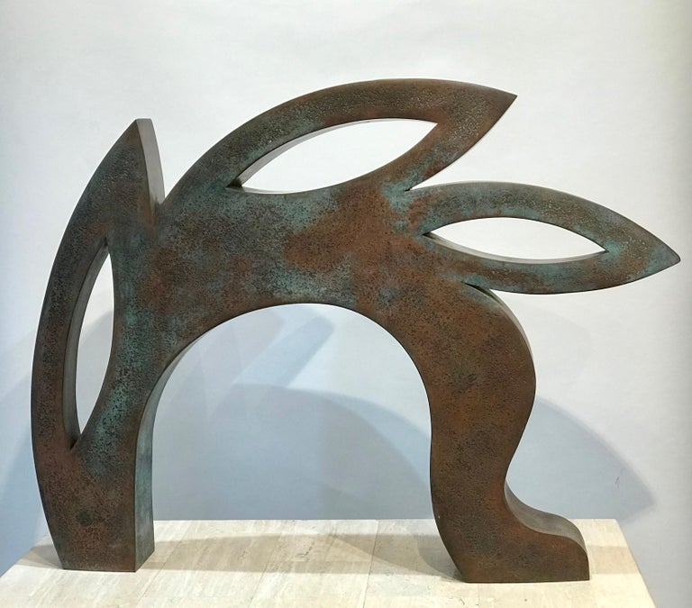 Canto, copper sculpture,red, black, abstract rabbit, Jeffrey Maron, NYC  unique, etched copper alloy with polychrome oxides  Jeffrey Maron's sculptures are unique works, each made directly in metal by him. Constructed from a copper alloy that he