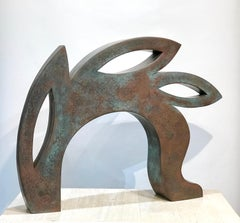 Canto, copper sculpture,red, black, abstract rabbit, Jeffrey Maron, NYC