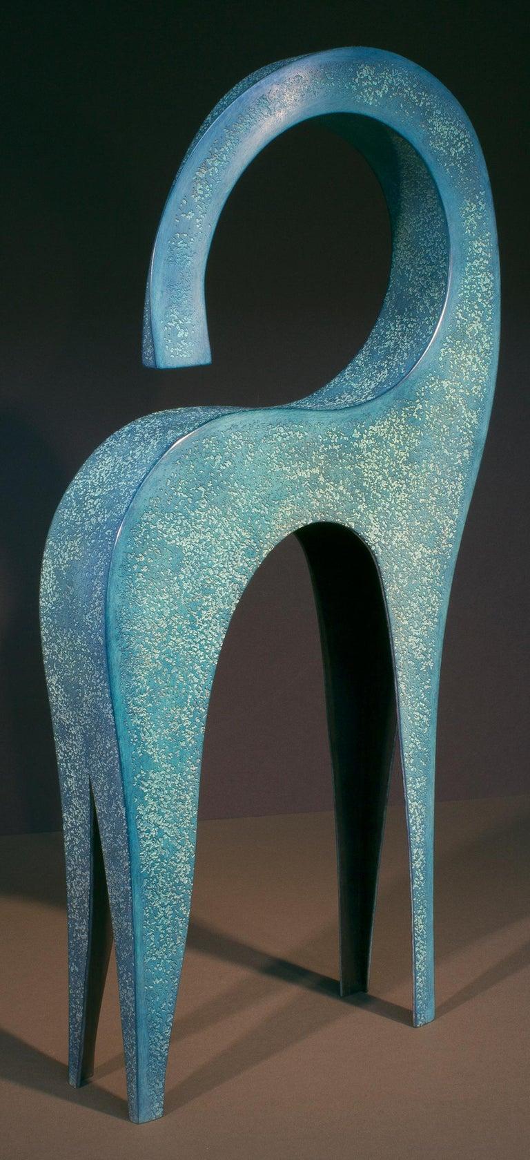 Dansa, abstract sculpture, blue patina, copper, unique, figurative, textured - Sculpture by Jeffrey Maron