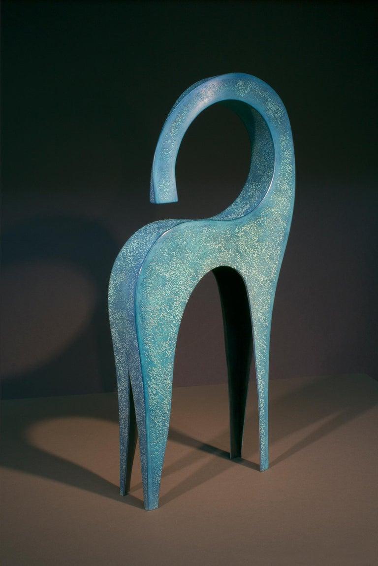 Jeffrey Maron Figurative Sculpture - Dansa, abstract sculpture, blue patina, copper, unique, figurative, textured