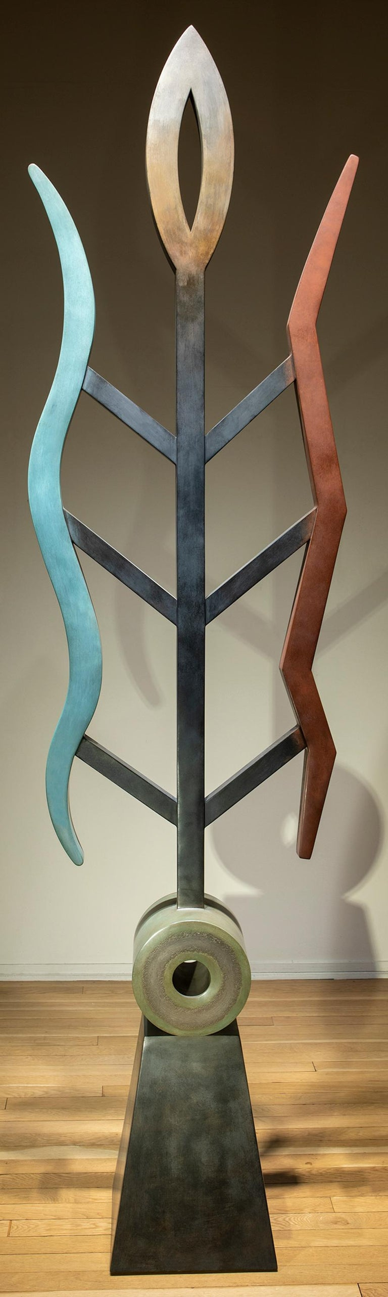 Fire and Rain, abstract sculpture, copper, unique, geometric, blue red, brown - Contemporary Art by Jeffrey Maron