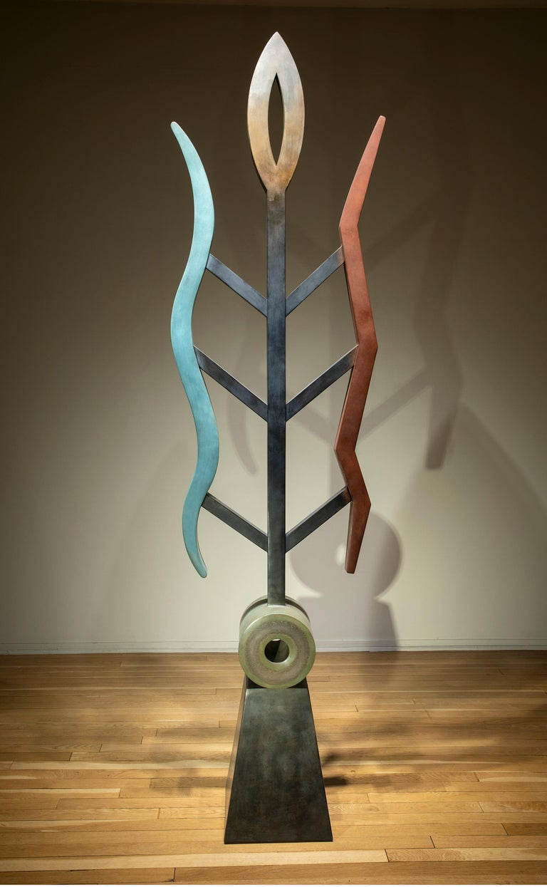 Fire and Rain, abstract sculpture, copper, unique, geometric, blue red, brown - Art by Jeffrey Maron