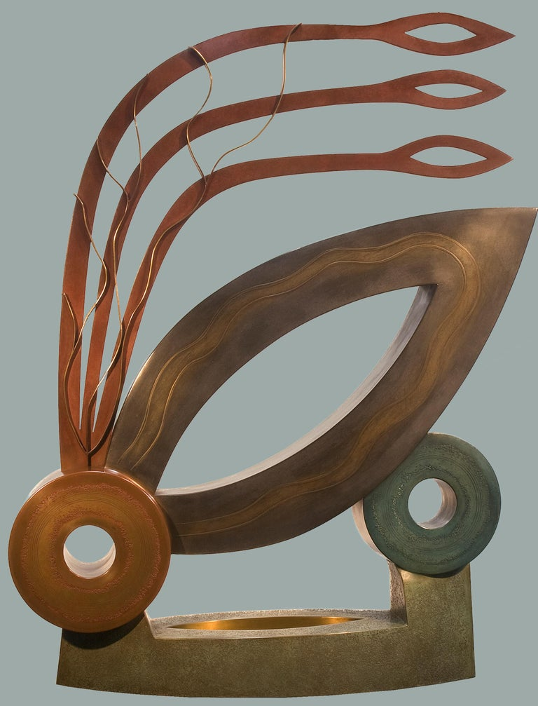 Joy, abstract metal sculpture, contemporary, copper, brown, red, bronze,  - Contemporary Art by Jeffrey Maron