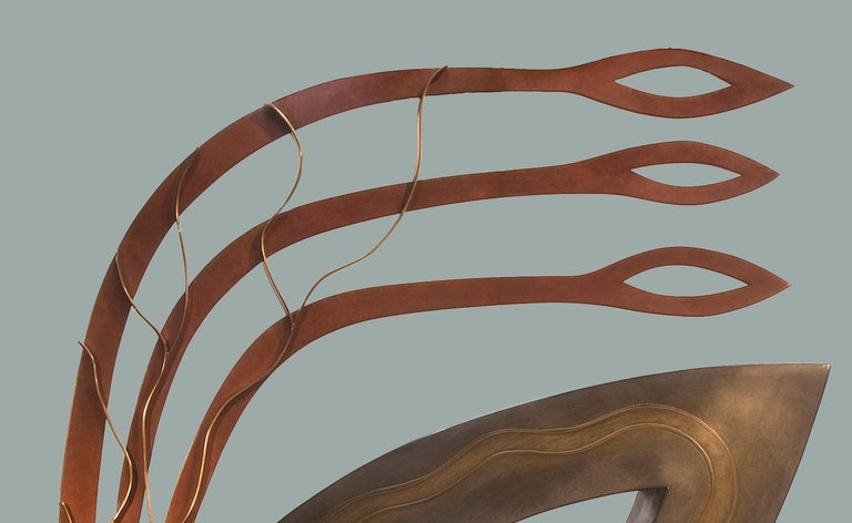 Joy, abstract metal sculpture, contemporary, copper, brown, red, bronze,  For Sale 1