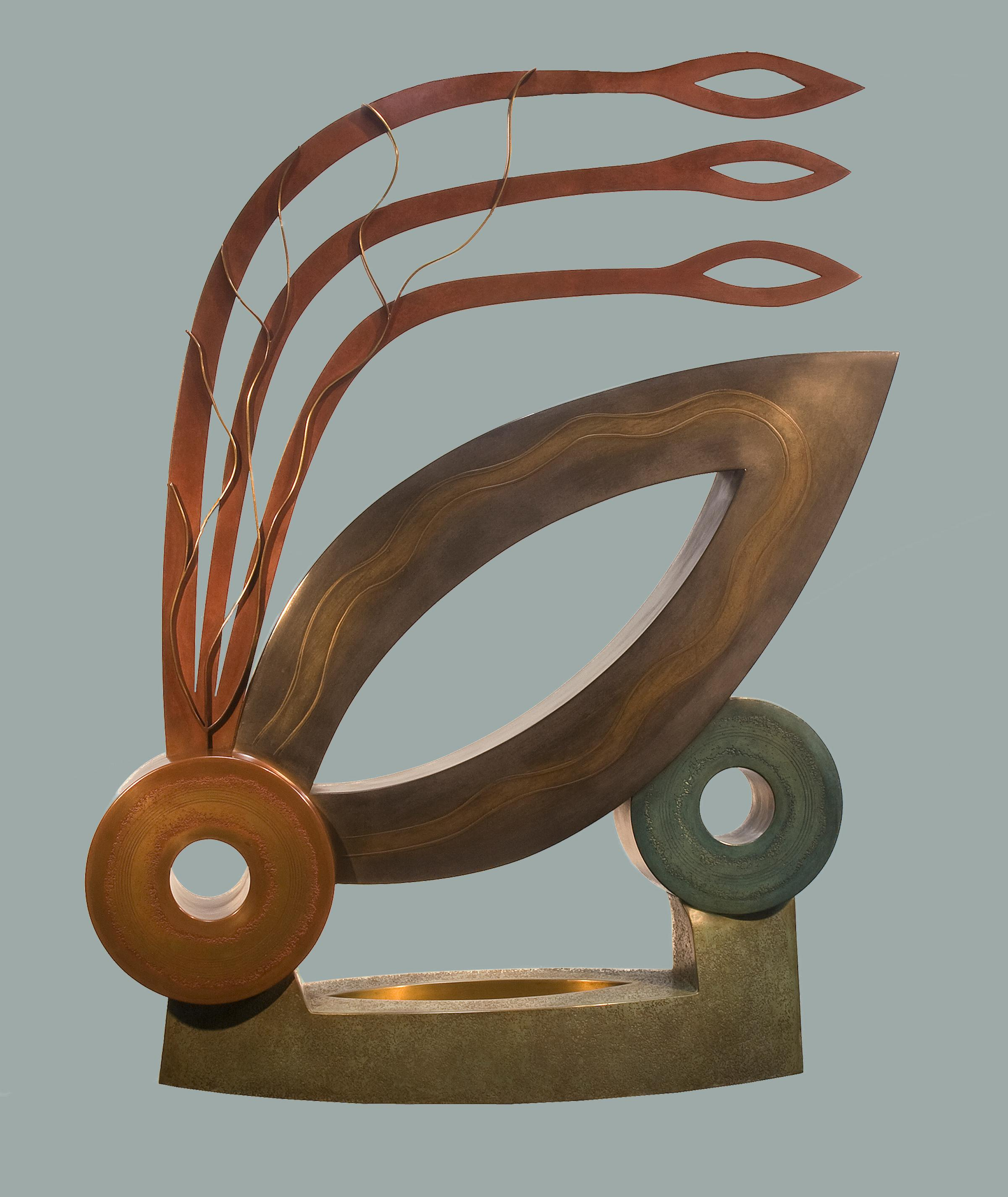 Joy, abstract metal sculpture, contemporary, copper, brown, red, bronze,