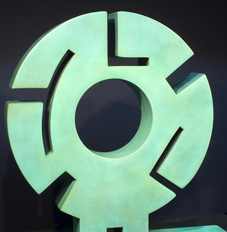 Sun Father, abstract metal sculpture, copper, unique, green textured patina - Contemporary Sculpture by Jeffrey Maron
