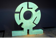 Sun Father, abstract metal sculpture, copper, unique, green textured patina