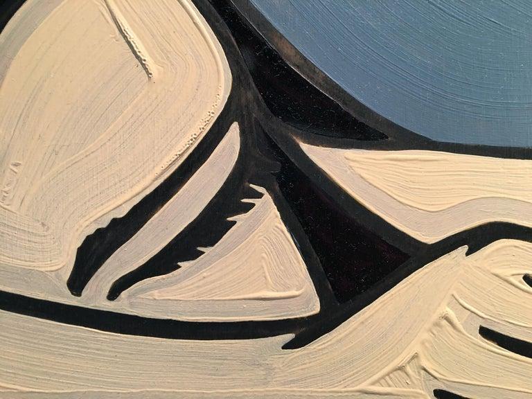 Chaise 18, Minimalist Pop Art painting, Figurative, Pool, Oil, Charcoal, Female - Painting by Jeffrey Palladini