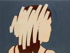 Negation Scratch #6, female portrait, minimalism, oil, Figurative, Blue, Wood