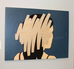 Negation Scratch #6, minimalist female portrait, oil and charcoal on wood panel