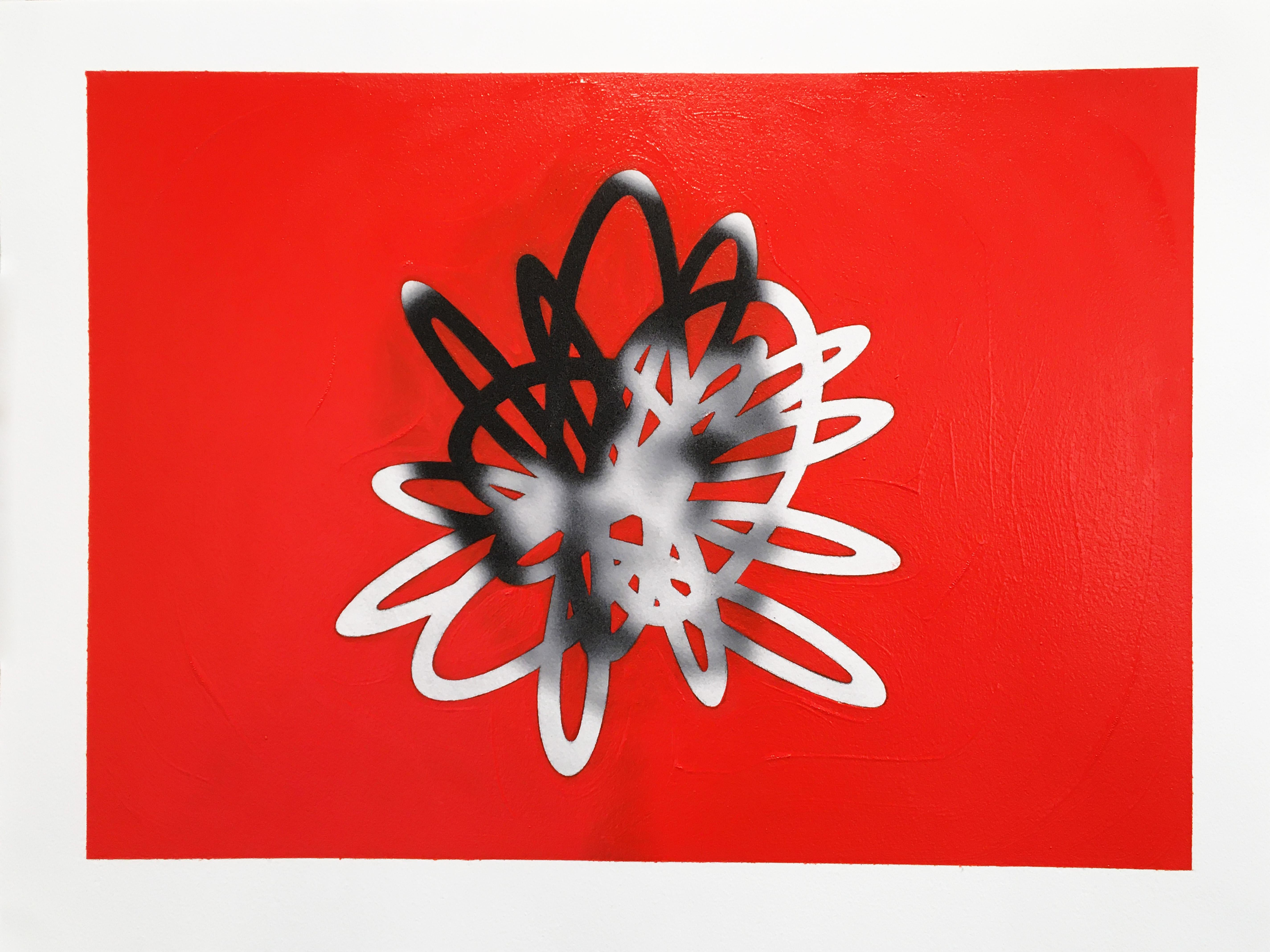 Thread #11, Minimalist,Oil, Inkjet, Work on Paper, Red,