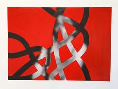 Thread #12  (Gimme Gimme), Minimalist, Oil, Abstract, musical figures, Red