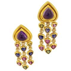 Jeffrey Stevens 18 Karat Gold, Heart Amethyst Multi-Color Stones Drop Earrings