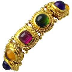 Jeffrey Stevens 18 Karat Gold and Semi Precious Cabochon Gemstone Bracelet