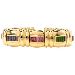 Jeffrey Stevens Rainbow Multi-Stone Gold Bangle Bracelet