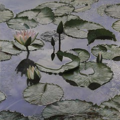 """""""Lilies After the Rain"""", Contemporary, Oil Painting, Canvas, Photorealism, Frame"""