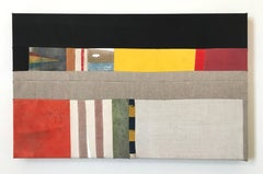 Contemporary Abstract Mixed Media Painting Jeffrey Vincent Stitched Multicolor