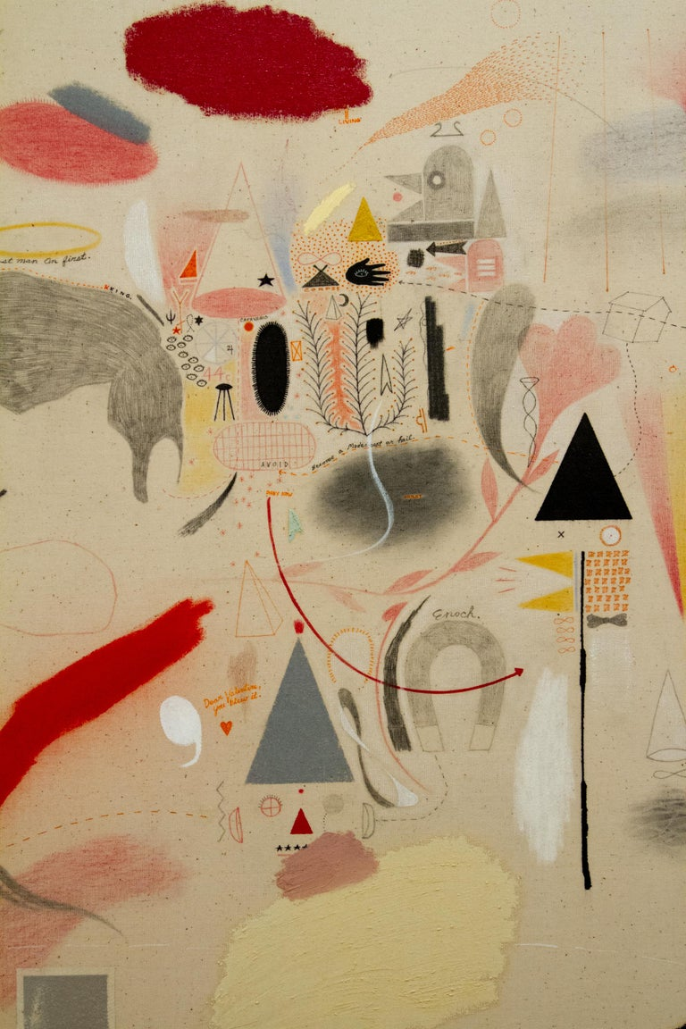 Ghost Man on First - Beige Abstract Painting by Jeffrey Vincent