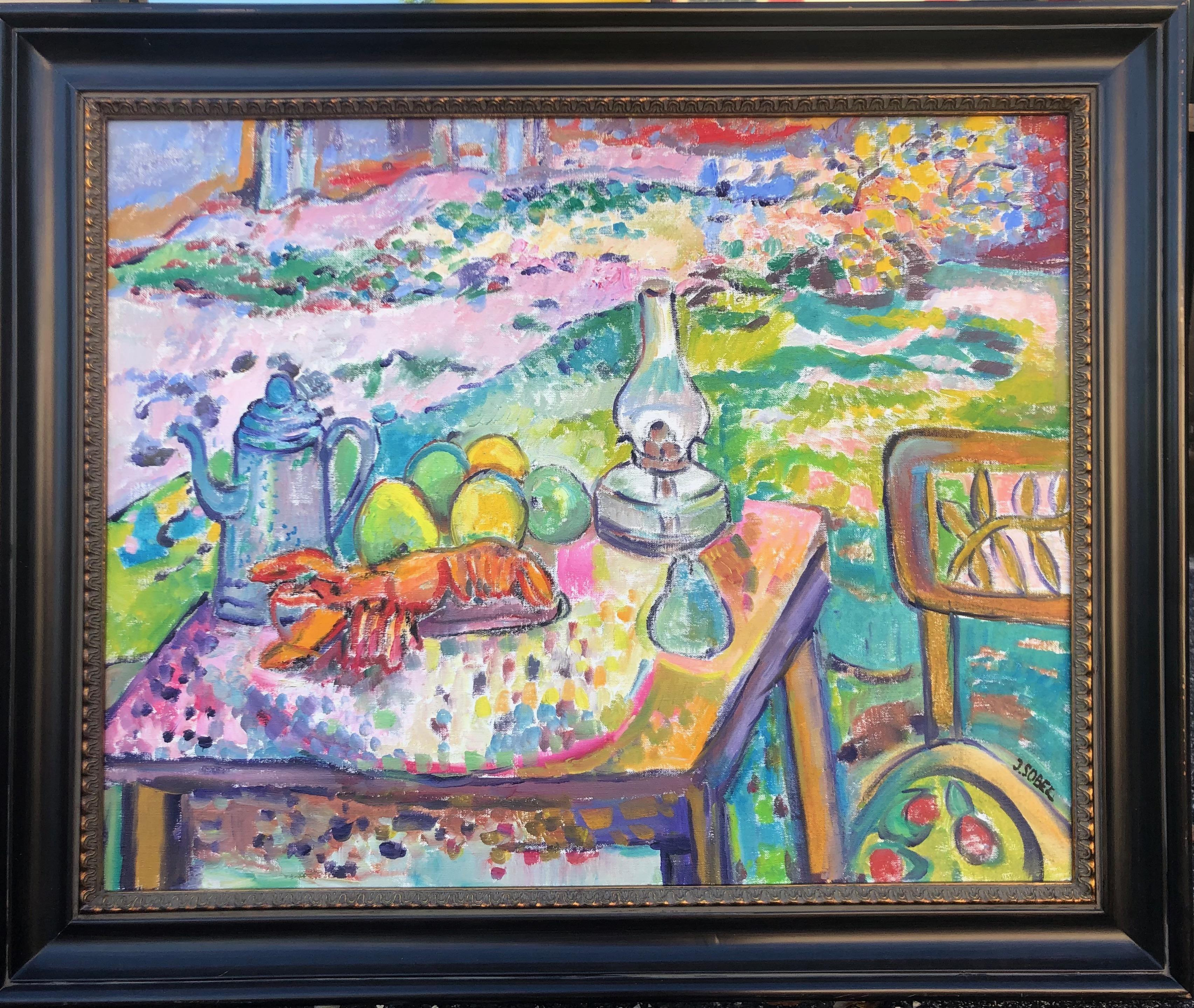 Still Life With Fruit and Lobster Impressionist Oil Painting