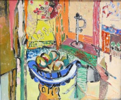 Vibrant Still Life with Fruit Bowl Oil Painting