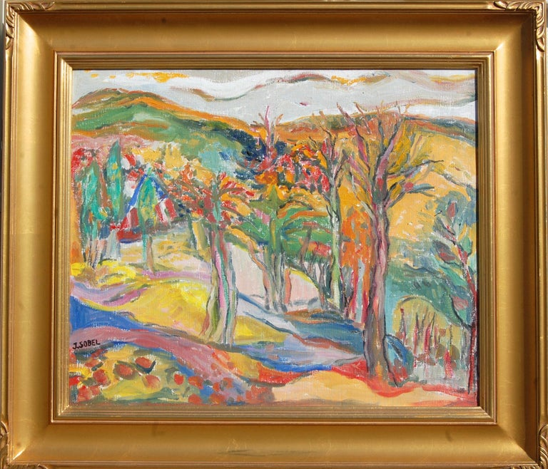Jehudith Sobel Landscape Painting - Vibrant Landscape with Mountains and Trees